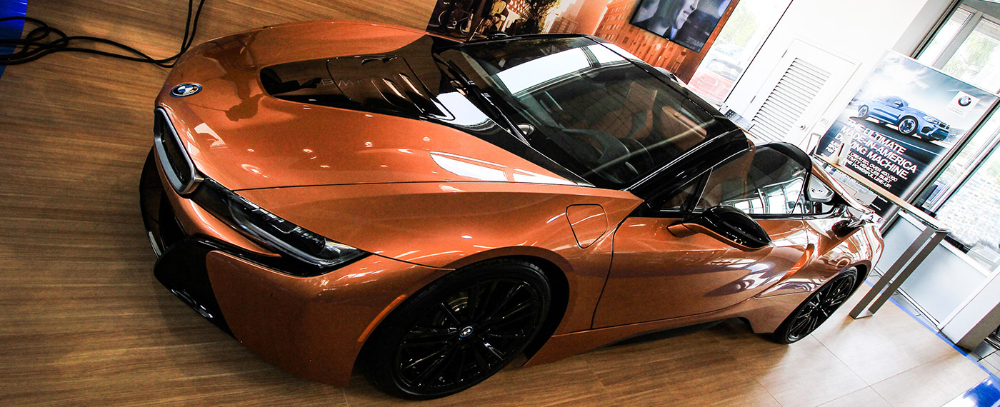 Front-Left of BMW i8 Roadster at South Motors BMW in Miami