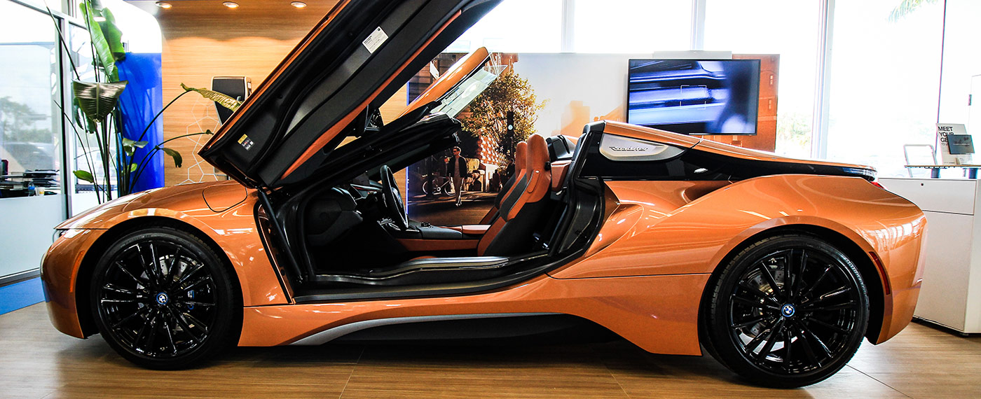 Side of BMW i8 Roadster at South Motors BMW in Miami