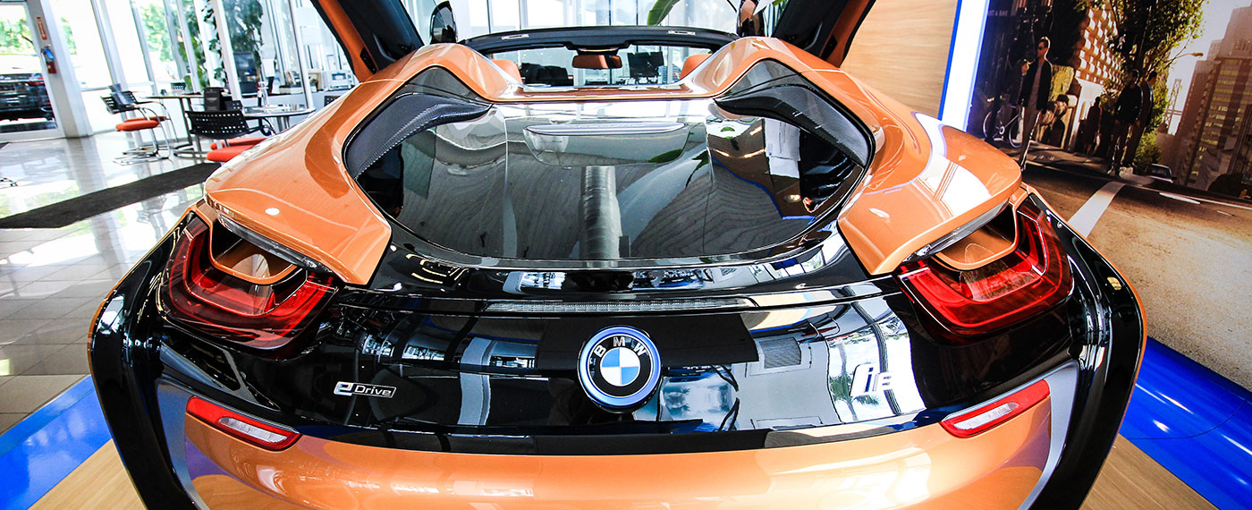 Back of BMW i8 Roadster with trunk closed at South Motors BMW in Miami