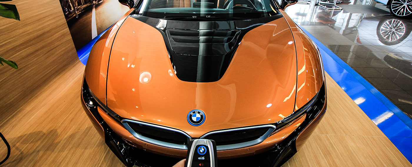 Front of BMW i8 Roadster with hood closed at South Motors BMW in Miami