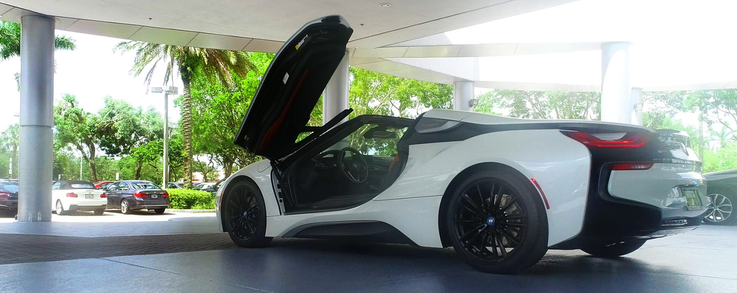 Back left side of the 2019 BMW i8 wing doors open