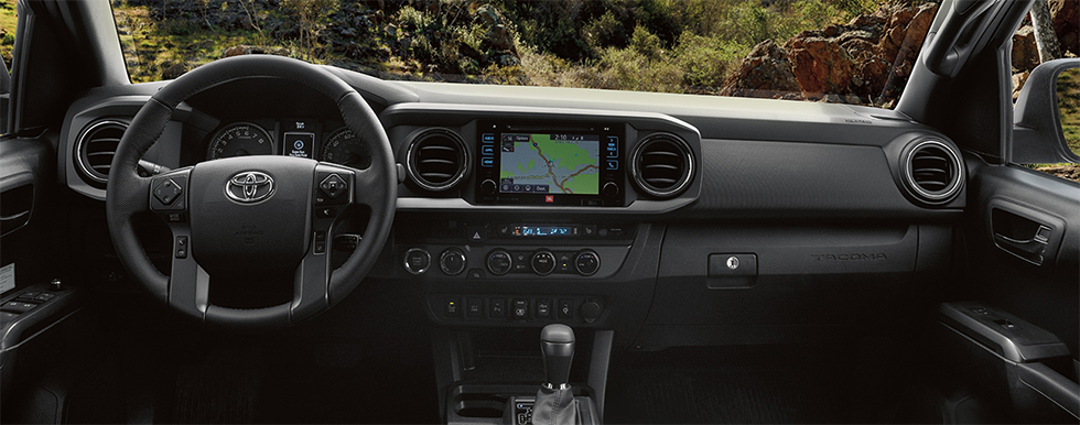 Safety features and interior of the 2019 Toyota Tacoma - available at our Toyota dealership near Charlotte, NC.