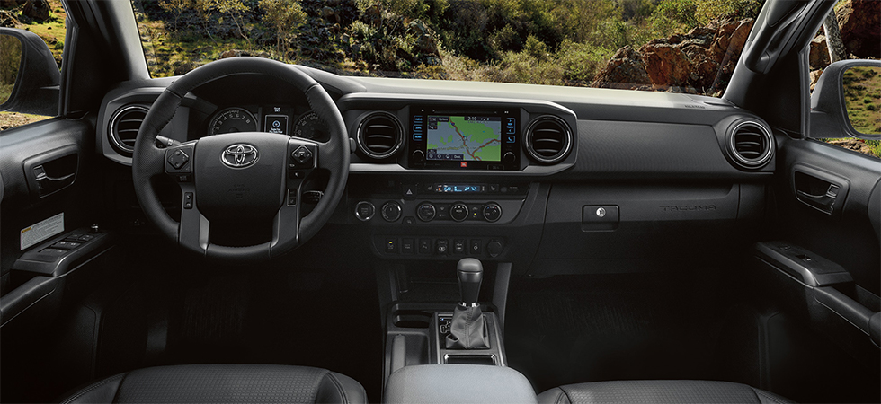 Safety features and interior of the 2019 Toyota Tacoma - available at our Toyota dealership
