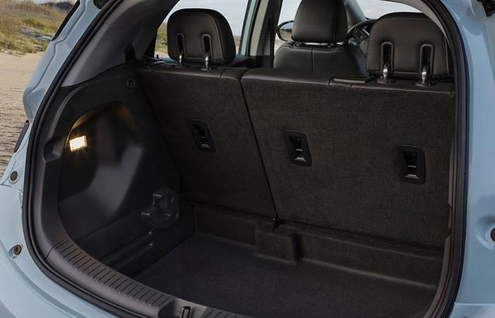 Close up view of a Chevy Bolt's trunk space