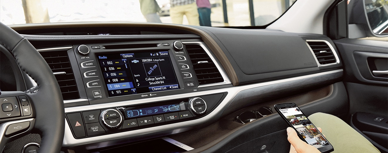 Safety features and interior of the 2019 Toyota Highlander - available at our Toyota dealership in Atlanta, GA