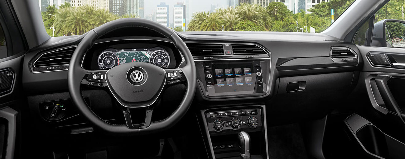 Safety features and interior of the 2019 Volkswagen Tiguan- available at our Volkswagen dealership near Gainesville, FL.