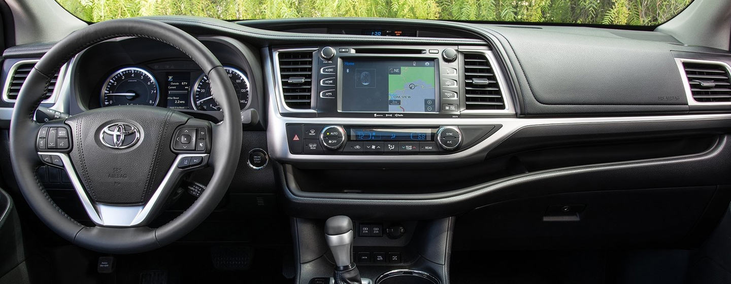 Picture of the interior of the 2019 Toyota Highlander for sale at our Toyota dealership near Brandon & Wesley Chapel Florida