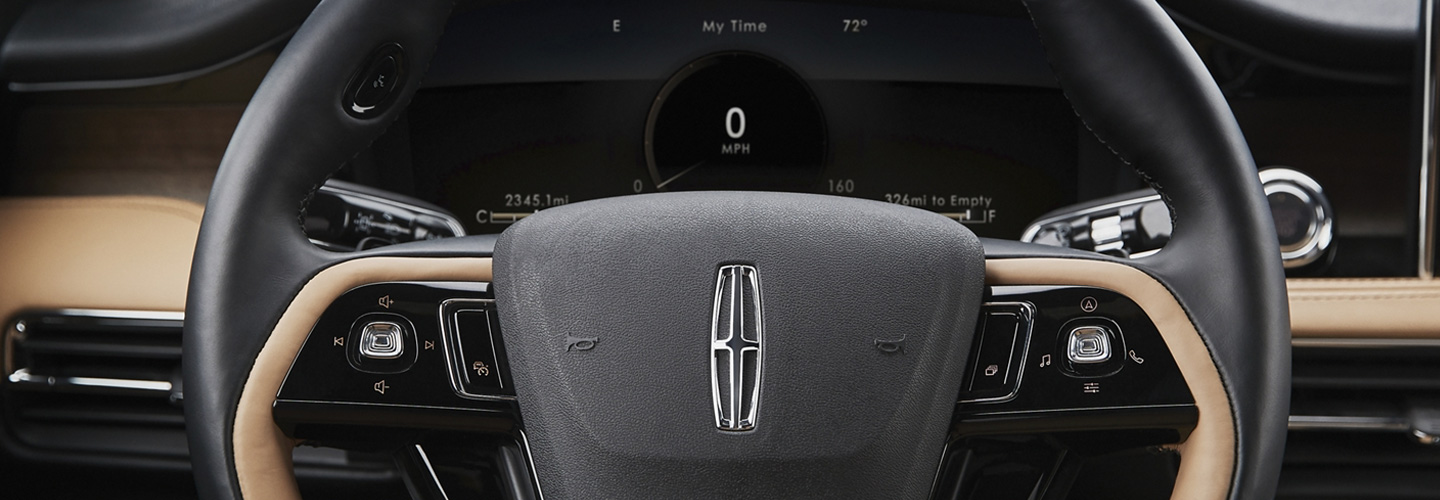 Close up of the steering wheel of the 2020 Lincoln Corsair