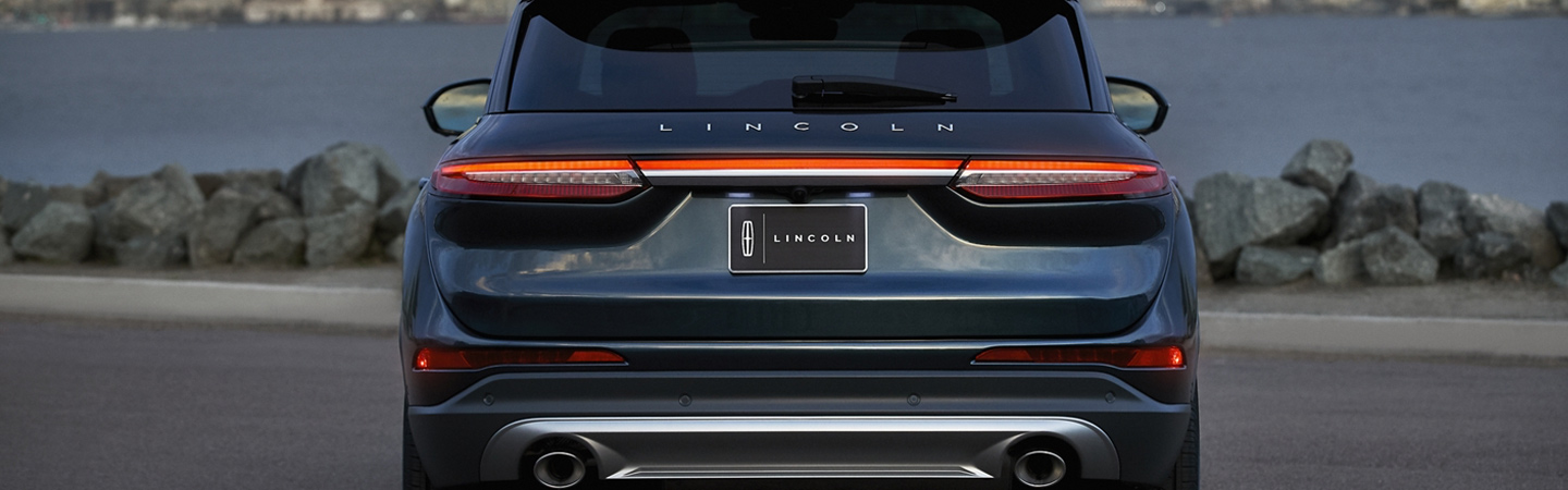 Rear view of the 2020 Lincoln Corsair parked