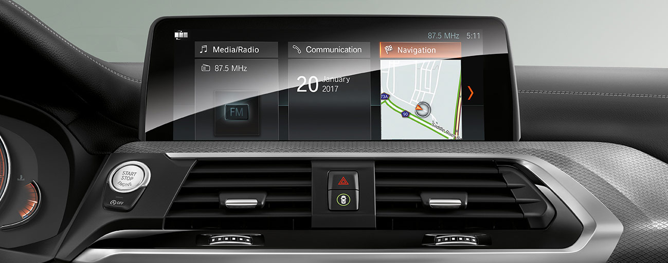 Dashboard touchscreen of the 2018 BMW X3 in Miami