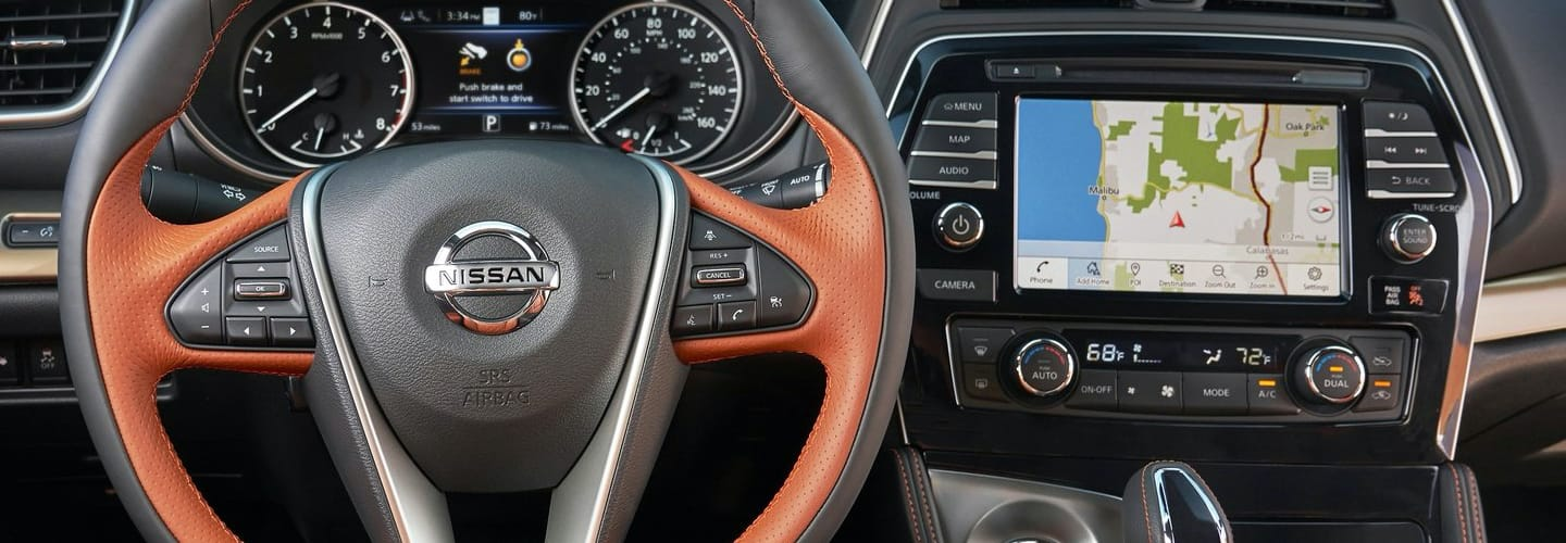 Steering wheel and touch screen inside new Maxima