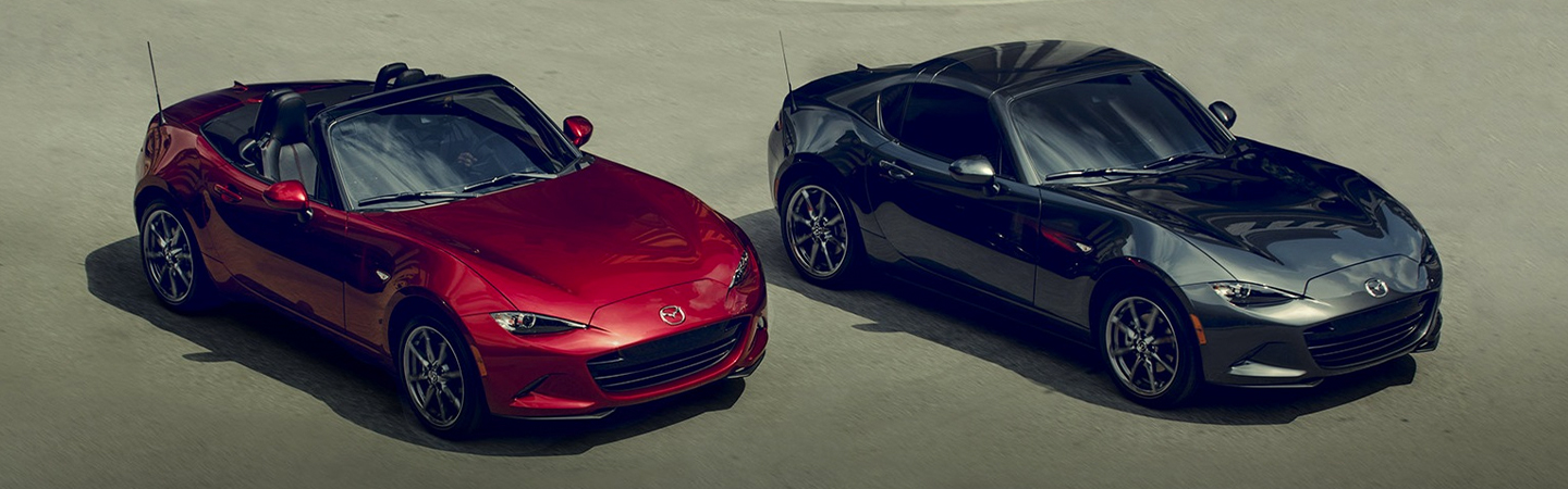 Overview of two 2019 Mazda Miatas parked together