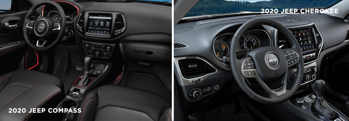 Picture of the interiors of the Jeep Cherokee and Jeep Compass.