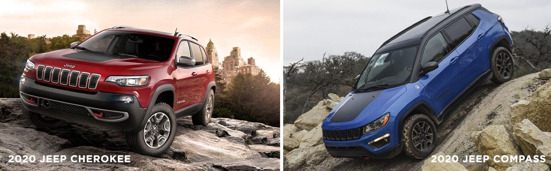 2020 Jeep Cherokee and 2020 Jeep Compass vehicles