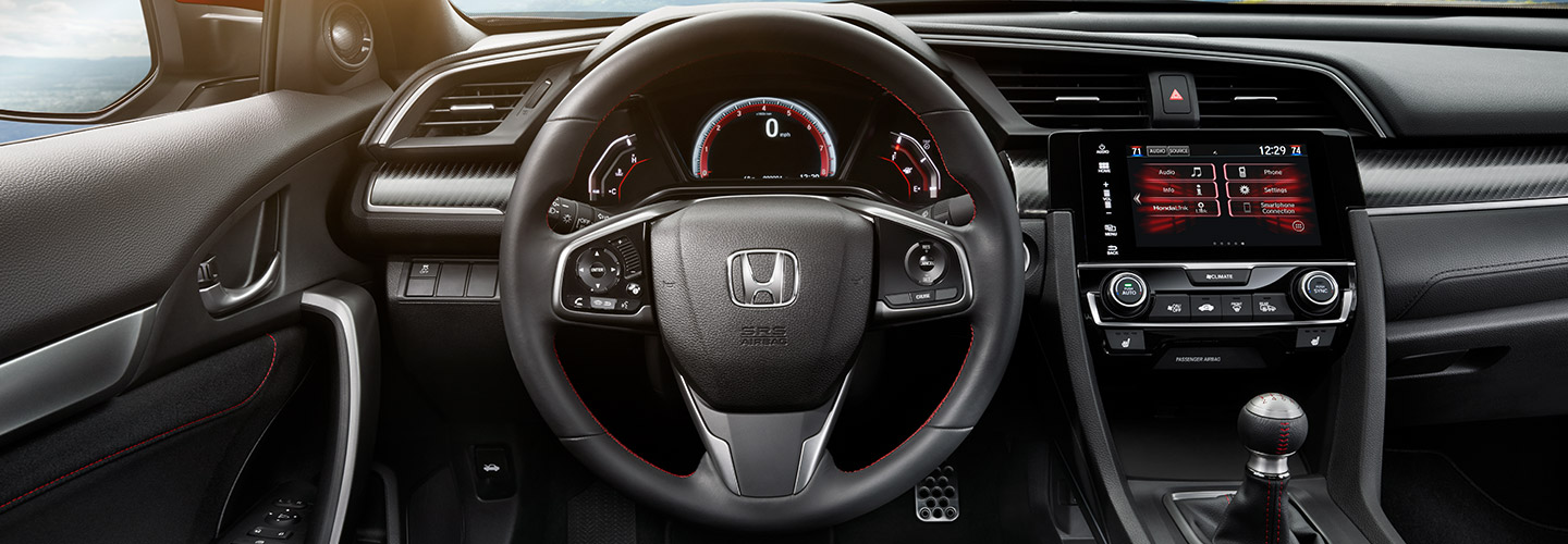 Driver's perspective of the 2019 Honda Civic's interior, available at Honda of Gainesville