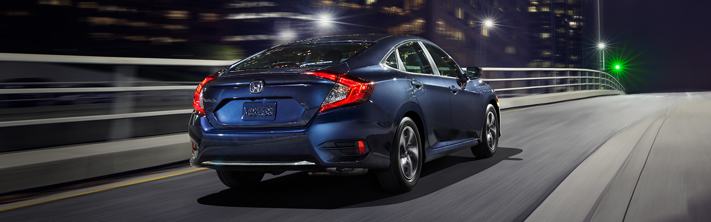 Tail end of the 2019 Honda Civic driving around Gainesville, FL