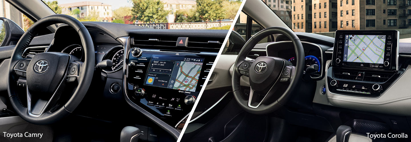 Interior of the 2019 Toyota Camry and the 2019 Toyota Corolla