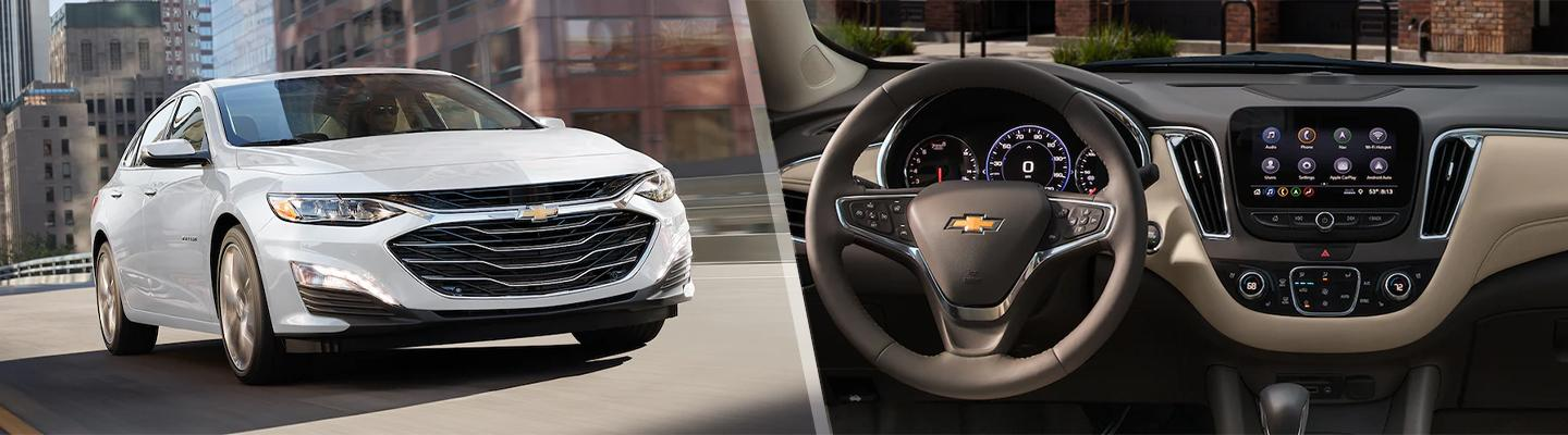 A white Chevy Malibu in motion and the interior view