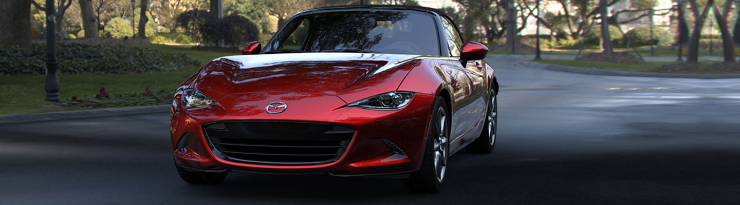Front view of the 2019 Mazda Miata parked outside