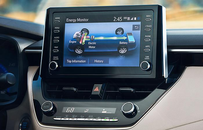 Detailed view of the 2021 Toyota Corolla's infotainment system