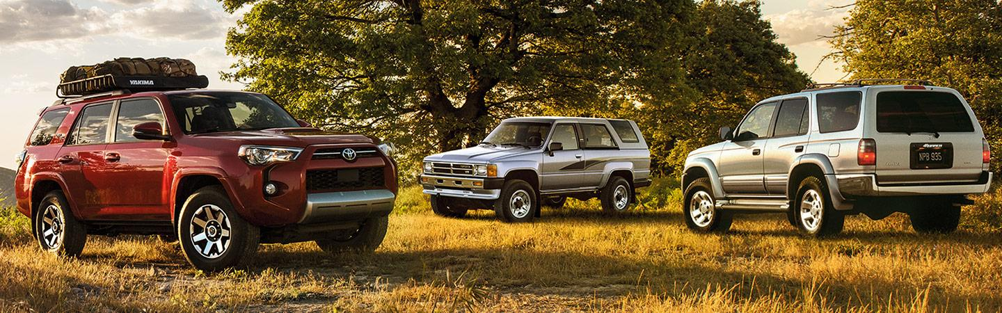 Three 2020 Toyota 4Runners parked on the grass