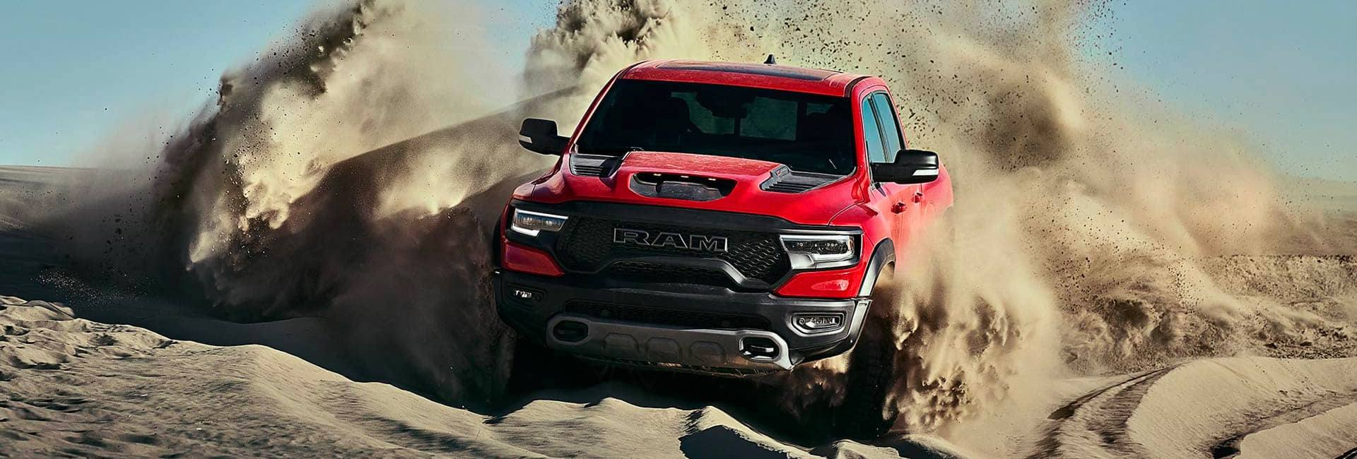 2021 RAM 1500 TRX in motion through the sand