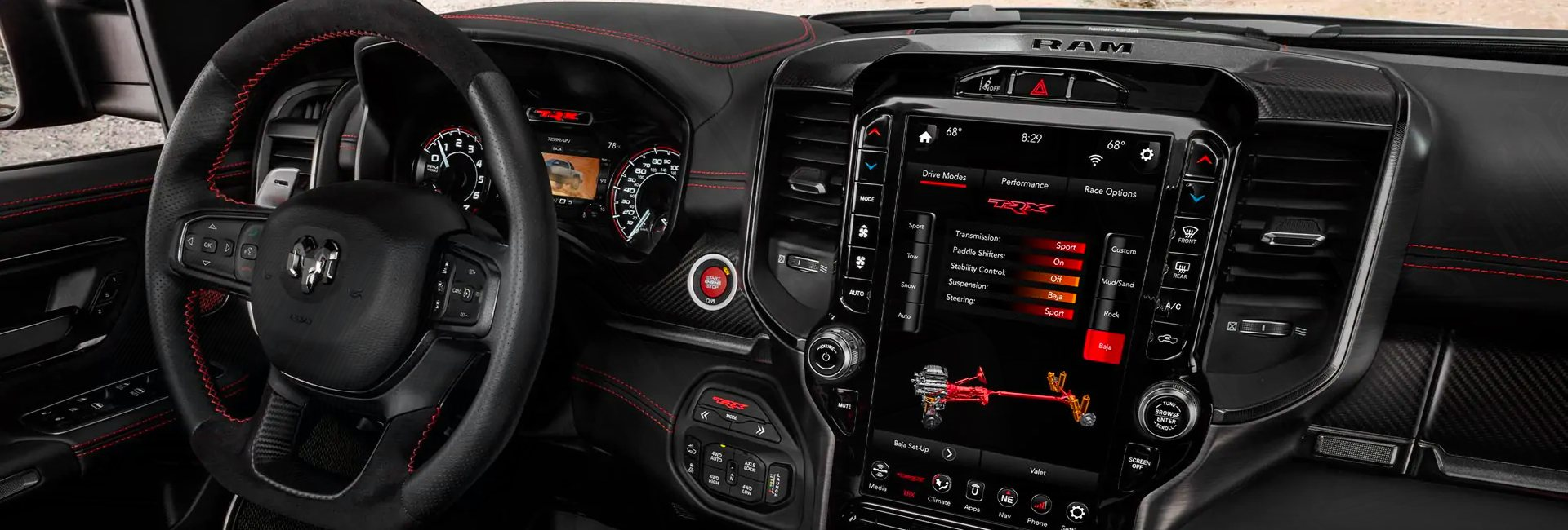 Full interior view of the Ram 1500 TRX parked