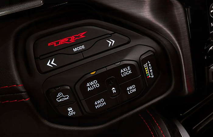 Close up view of the off road mode buttons