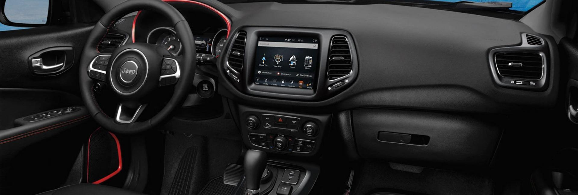 Interior image of the 2020 Jeep Compass for sale at Spitzer Jeep dealer in Mansfield Ohio