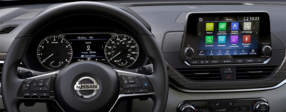 Safety features and interior of the 2019 Nissan Altima- available at our Nissan dealership in Flagstaff, AZ.