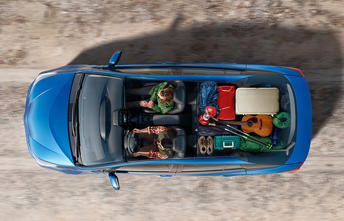 Top view of the 2021 Toyota Prius loaded with gear