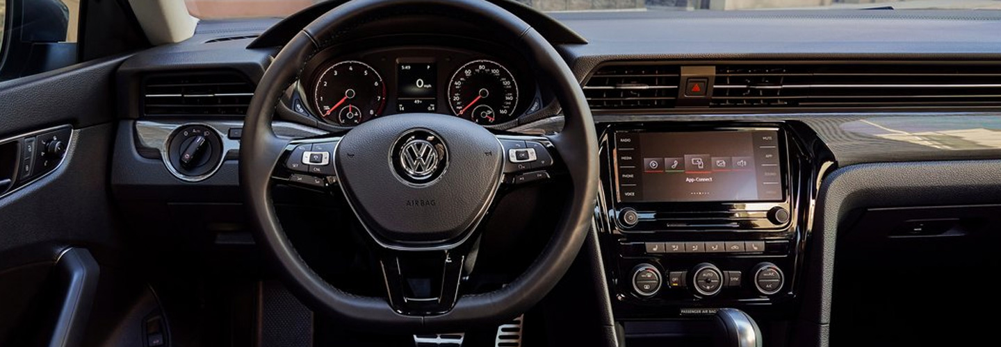 Drivers side perspective of the steering wheel of the 2020 Volkswagen Passat