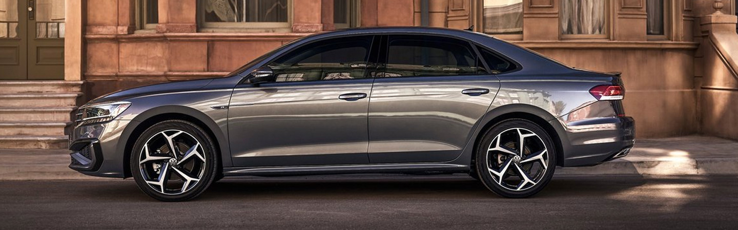 Side profile of the 2020 Volkswagen Passat parked on the side of the road