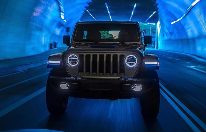 Front view of the 2021 Jeep Wrangler in a tunnel