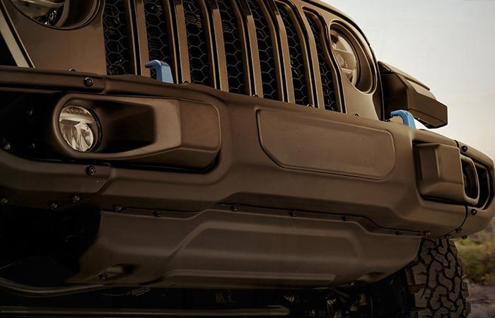 Close up view of the front 2021 Wrangler grill