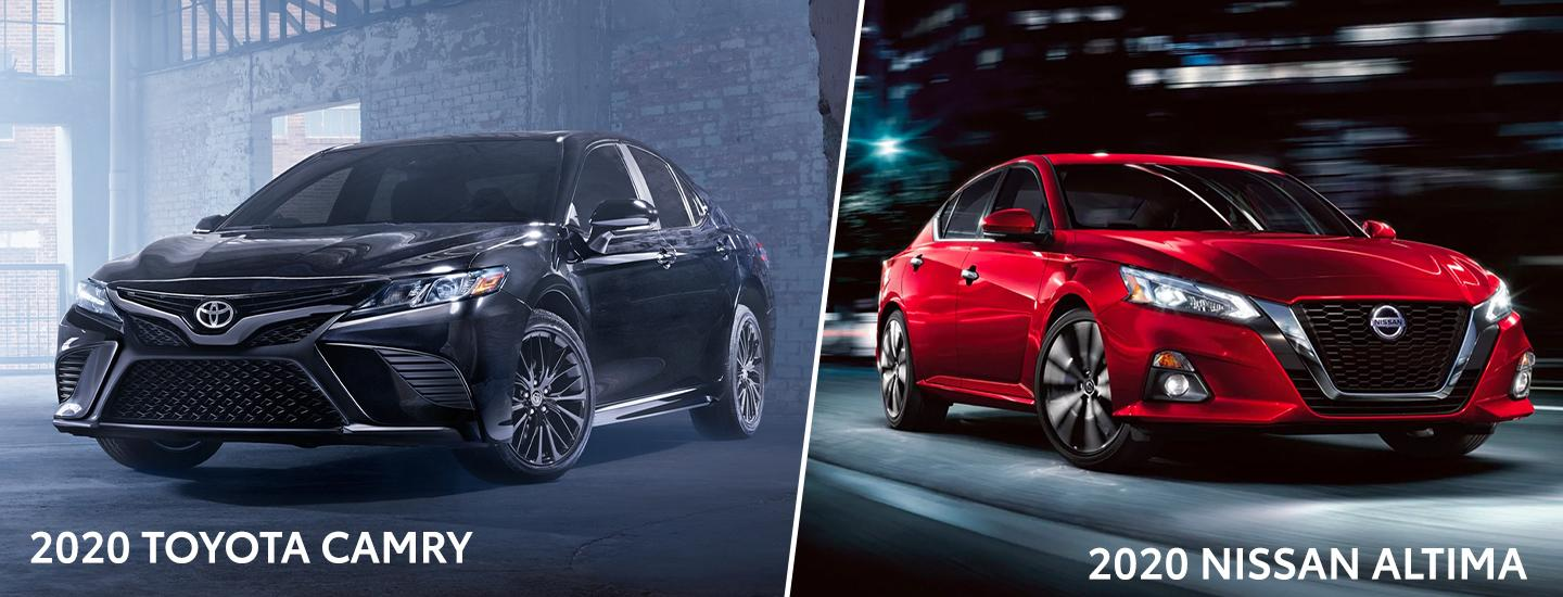 Split Image of Black 2020 Toyota Camry and Red 2020 Nissan Altima