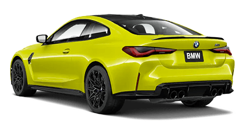 Rear view of Green 2021 BMW M4