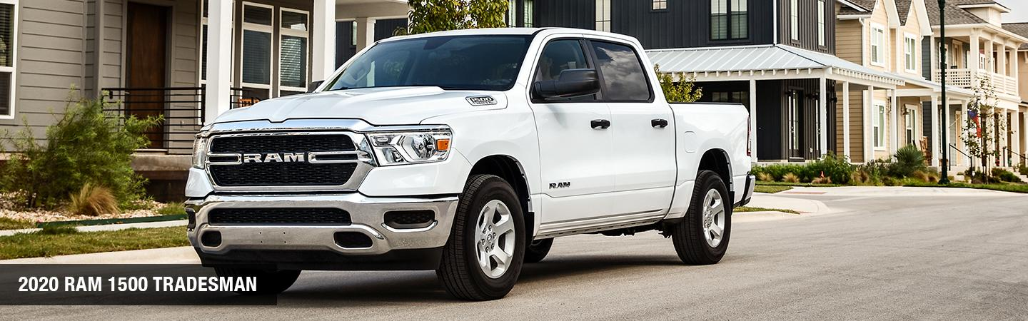 Front view of a white 2020 RAM 1500