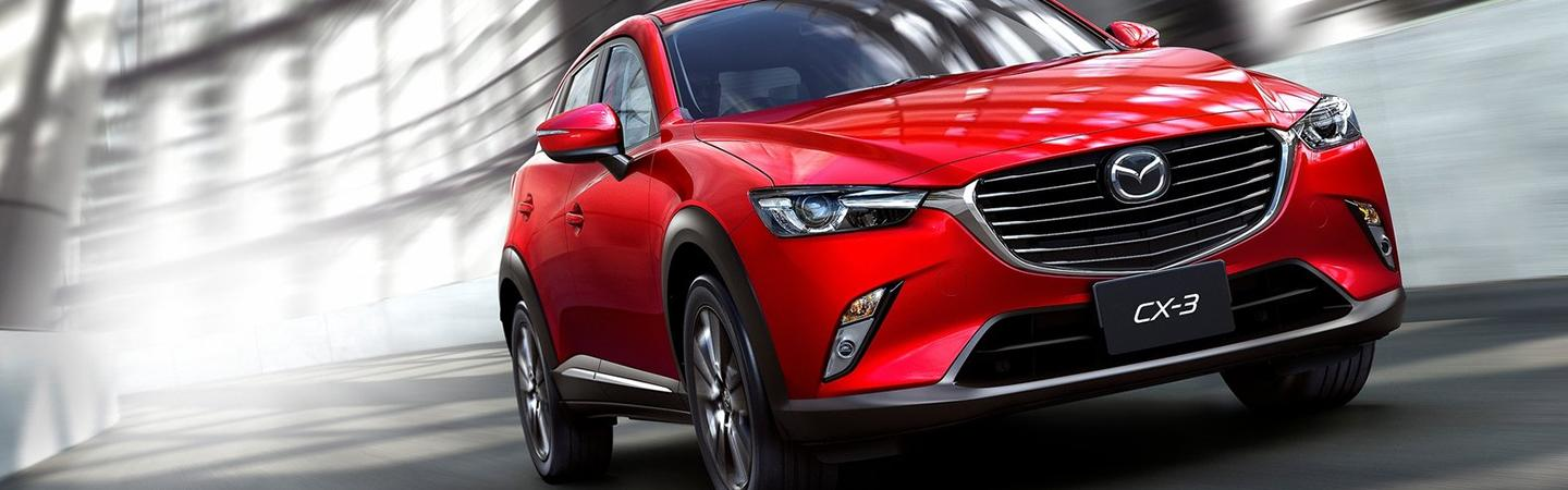 Front view of the 2019 Mazda CX-3 in motion