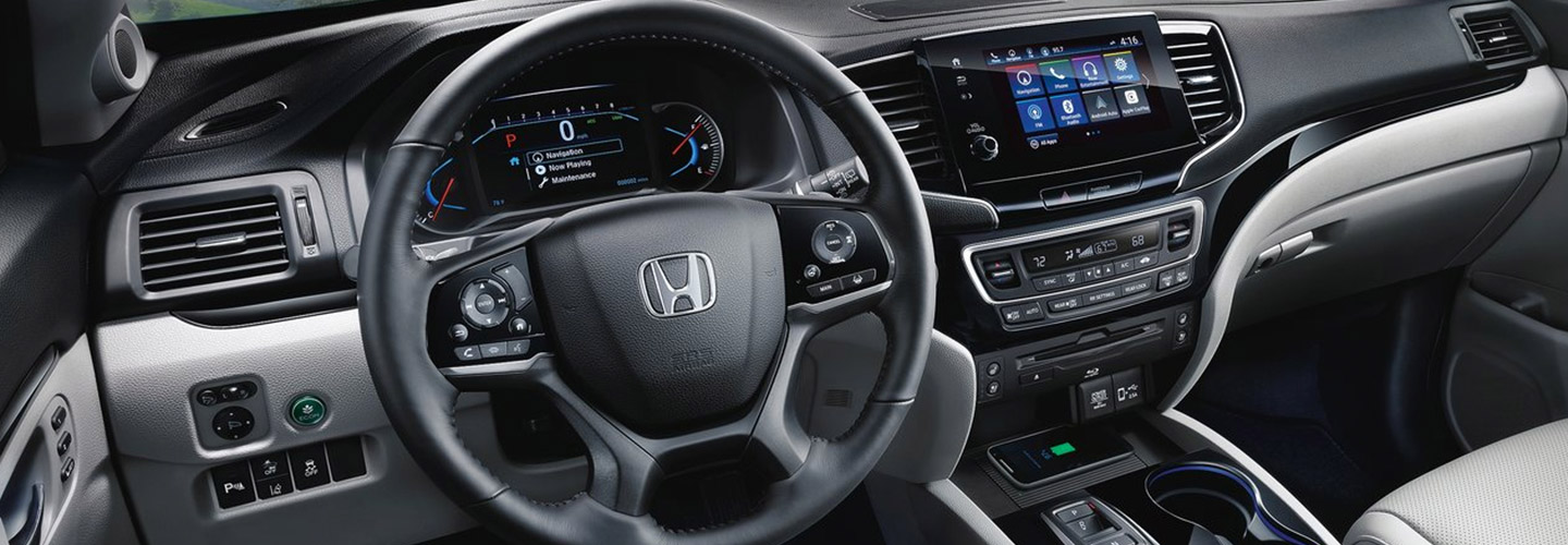 Interior drivers side perspective of the 2019 Honda Pilot available at Honda of Gainesville