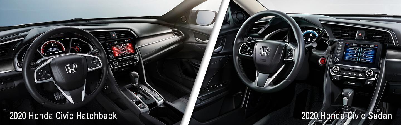 Interior of the 2020 Honda Civic Hatchback vs the Civic Sedan