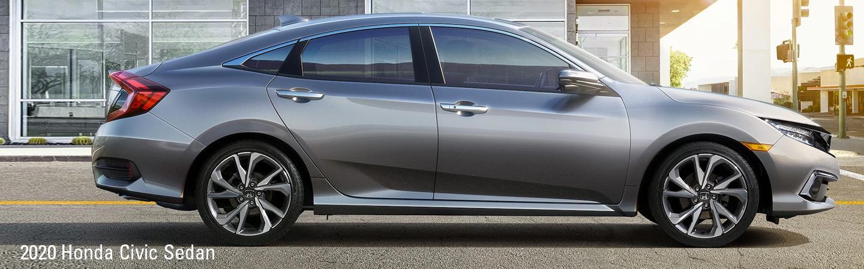 Side view of a grey 2020 Honda Civic Sedan