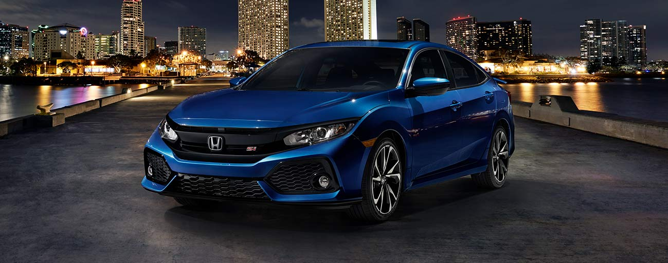2019 Honda Civic parked in city night