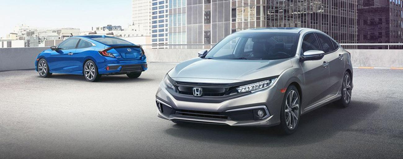 2 2019 Honda Civic two views parked
