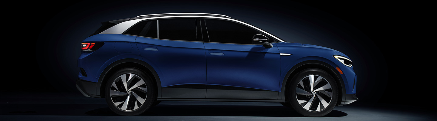 Side profile view of a blue 2021 ID.4
