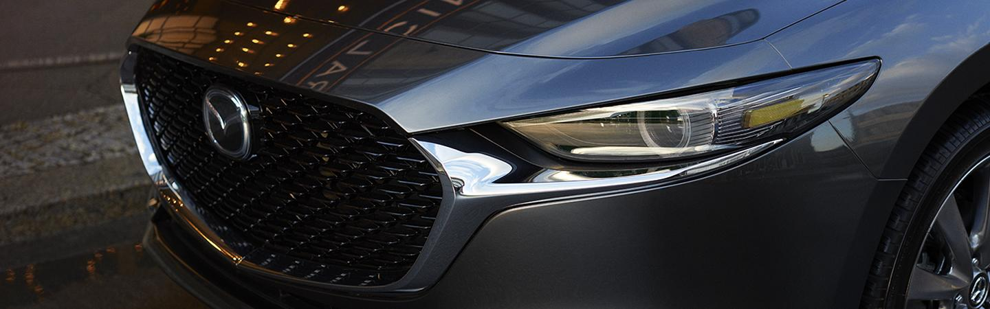 Close up view of the 2020 Mazda3 parked