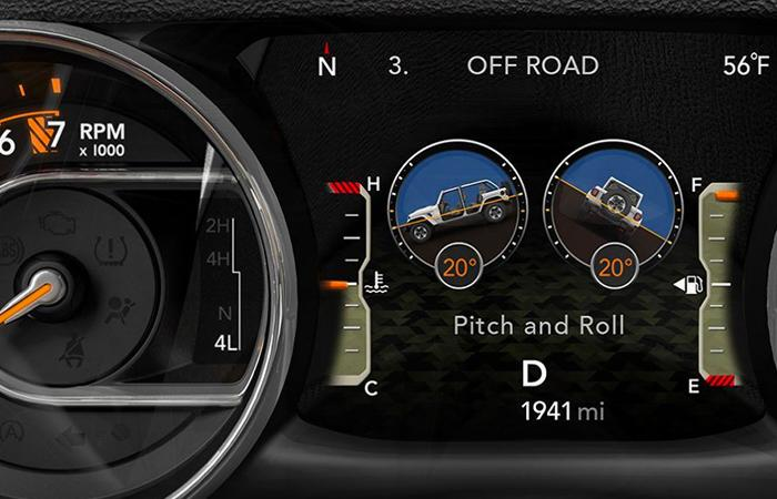 Detailed look of the 2021 Jeep Wrangler's dash