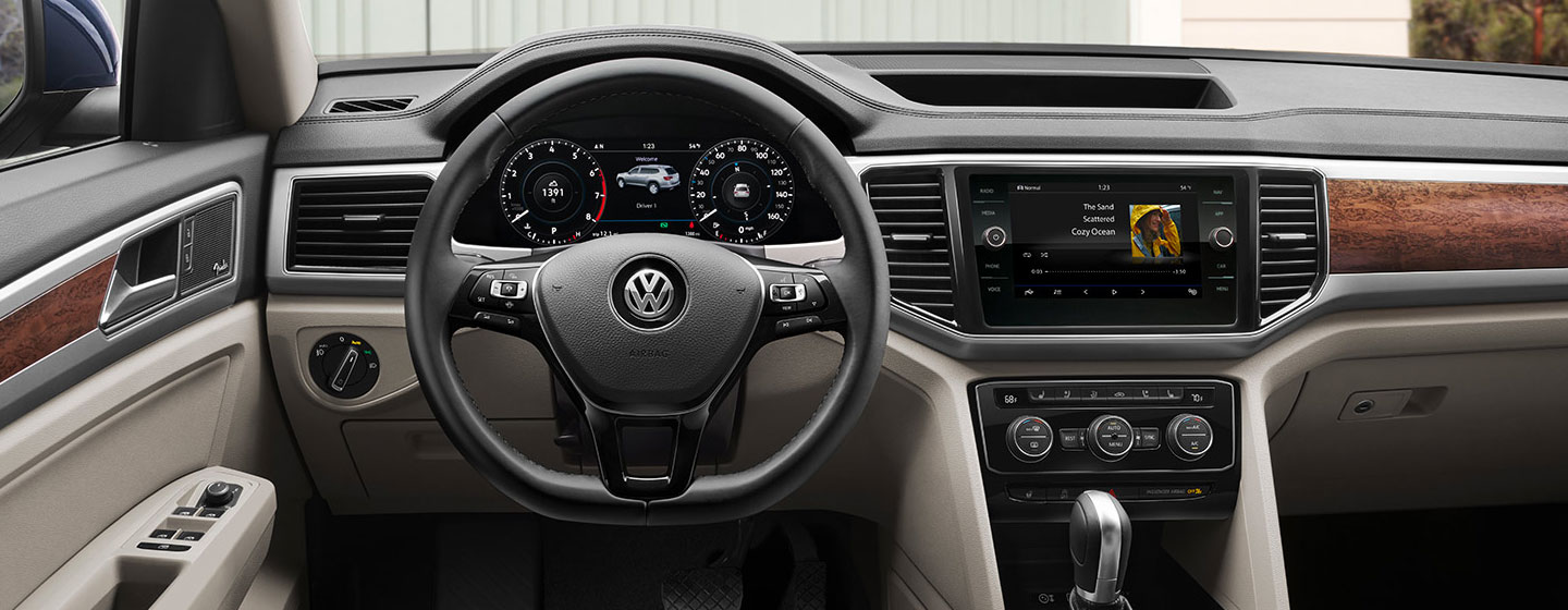 Drivers side perspective and steering wheel of the 2019 Volkswagen Atlas