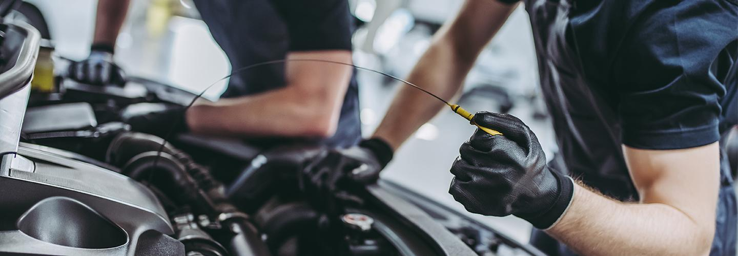 Oil change service being done at the Coccia Ford Service Center