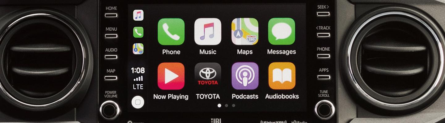 Apple CarPlay showing on the 2020 Toyota Tacoma interior display